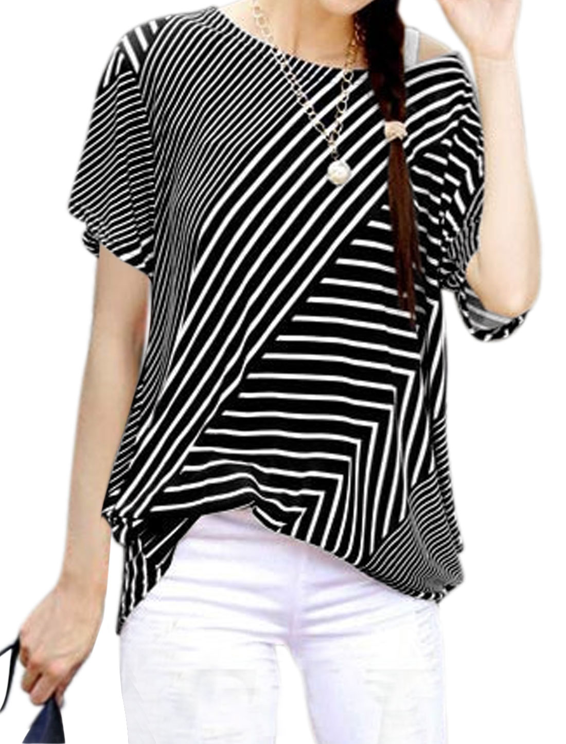 Woman Mixed Stripes Short Sleeves Shirred Sides Tunic Top Black S