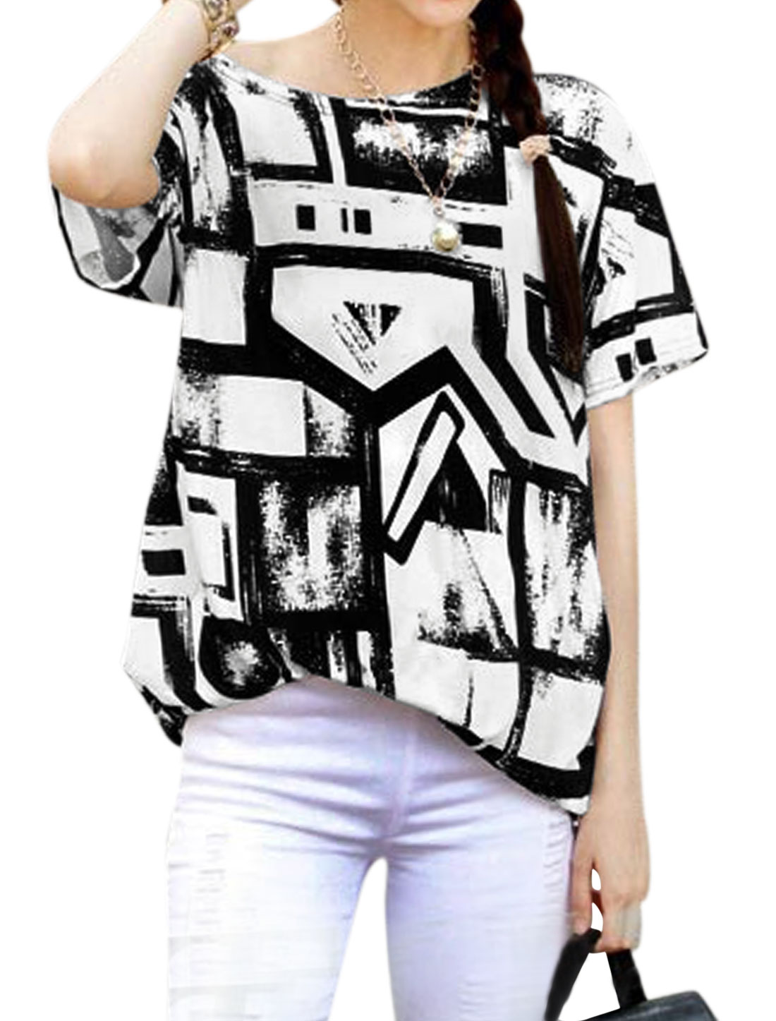 Woman Geometric Prints Short Sleeves Shirred Sides Tunic Top White Black S