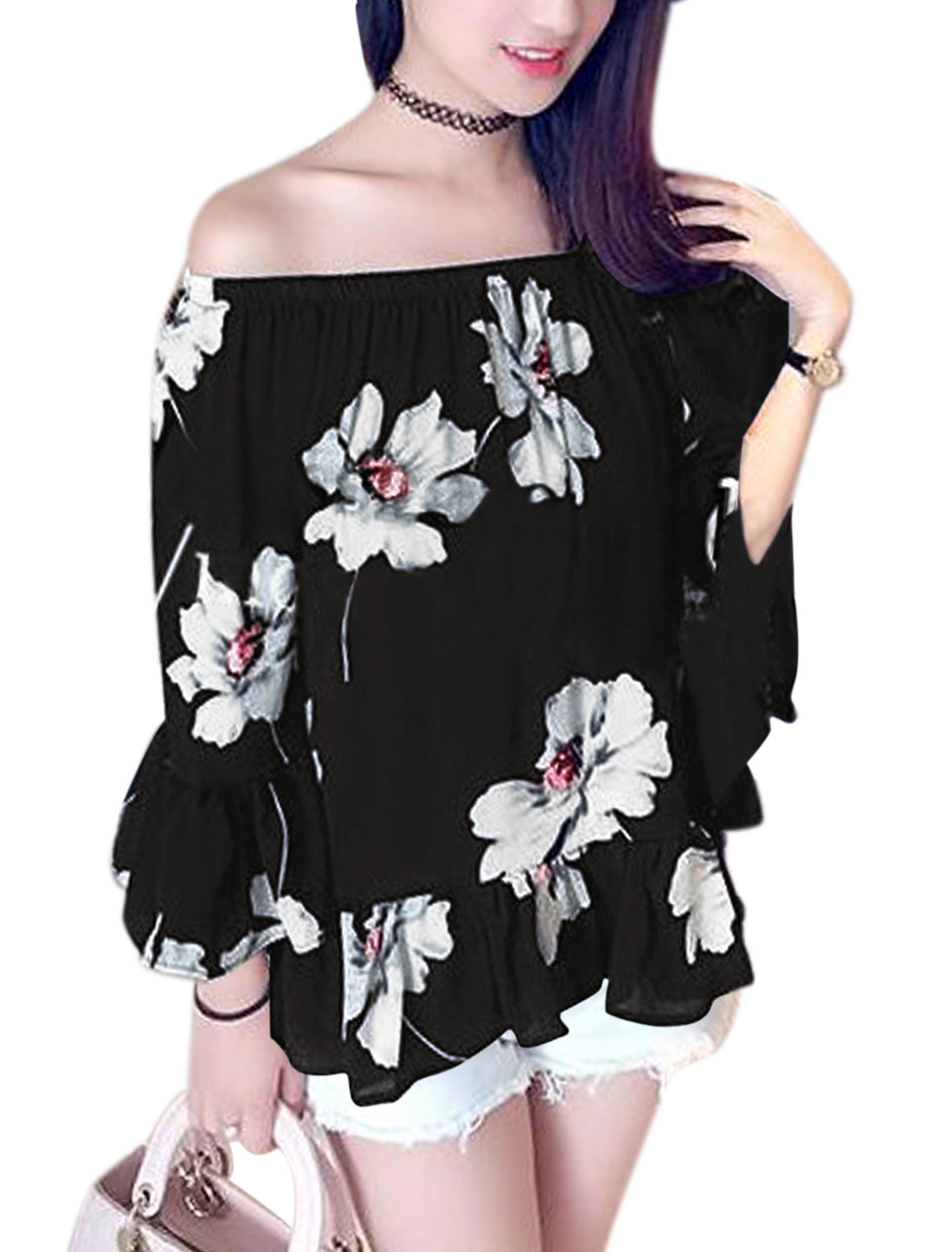 Woman Floral Prints Off-the-Shoulder 3/4 Sleeves Chiffon Top Black XS