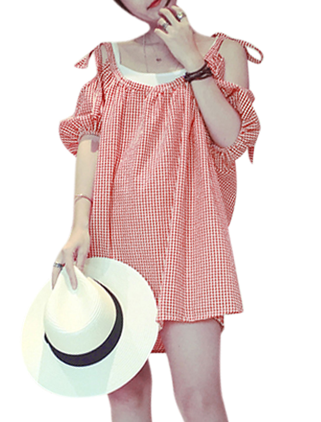 Woman Plaids Self Tie Cut Out Shoulder Textured Unlined Dress Pink White XS