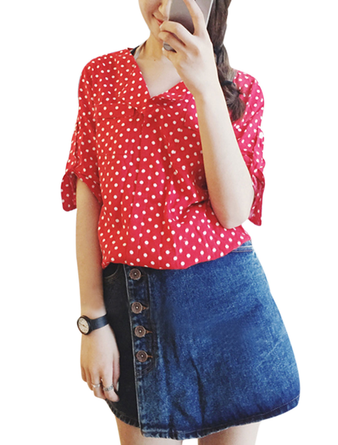 Woman Dots Prints Turn Down Collar Half Roll Up Sleeves Casual Top Watermelon Red XS