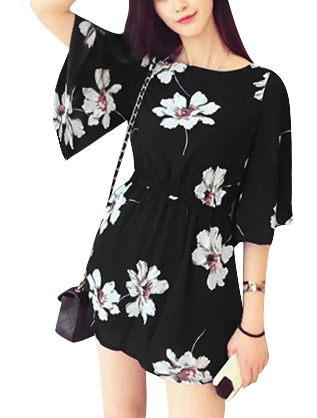 Ladies Trumpet Sleeves A Line Elastic Waist Floral Dress White Black XS
