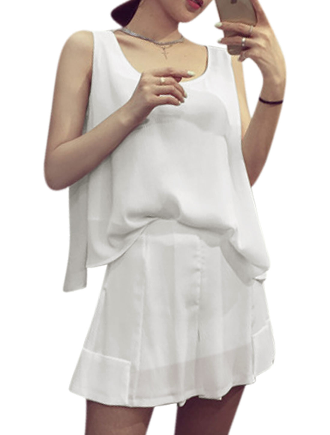Lady Low High Hem Casual Tops w Seamed Design Chiffon Shorts Sets White XS