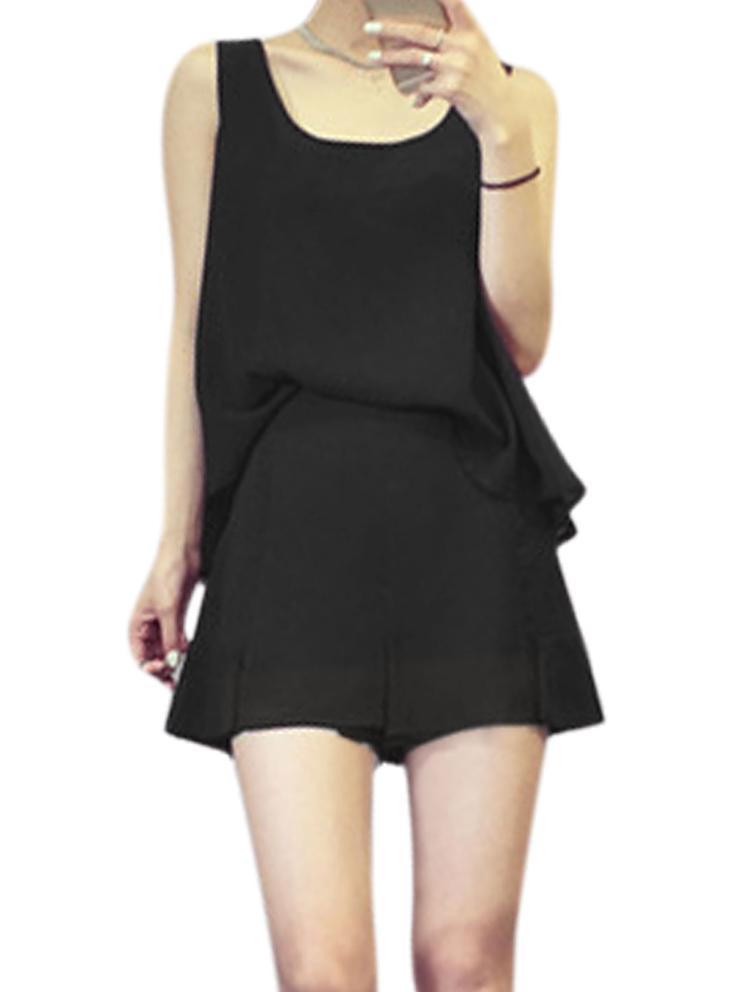 Ladies Scoop Neck Casual Tops w Elastic Waist Chiffon Shorts Sets Black XS