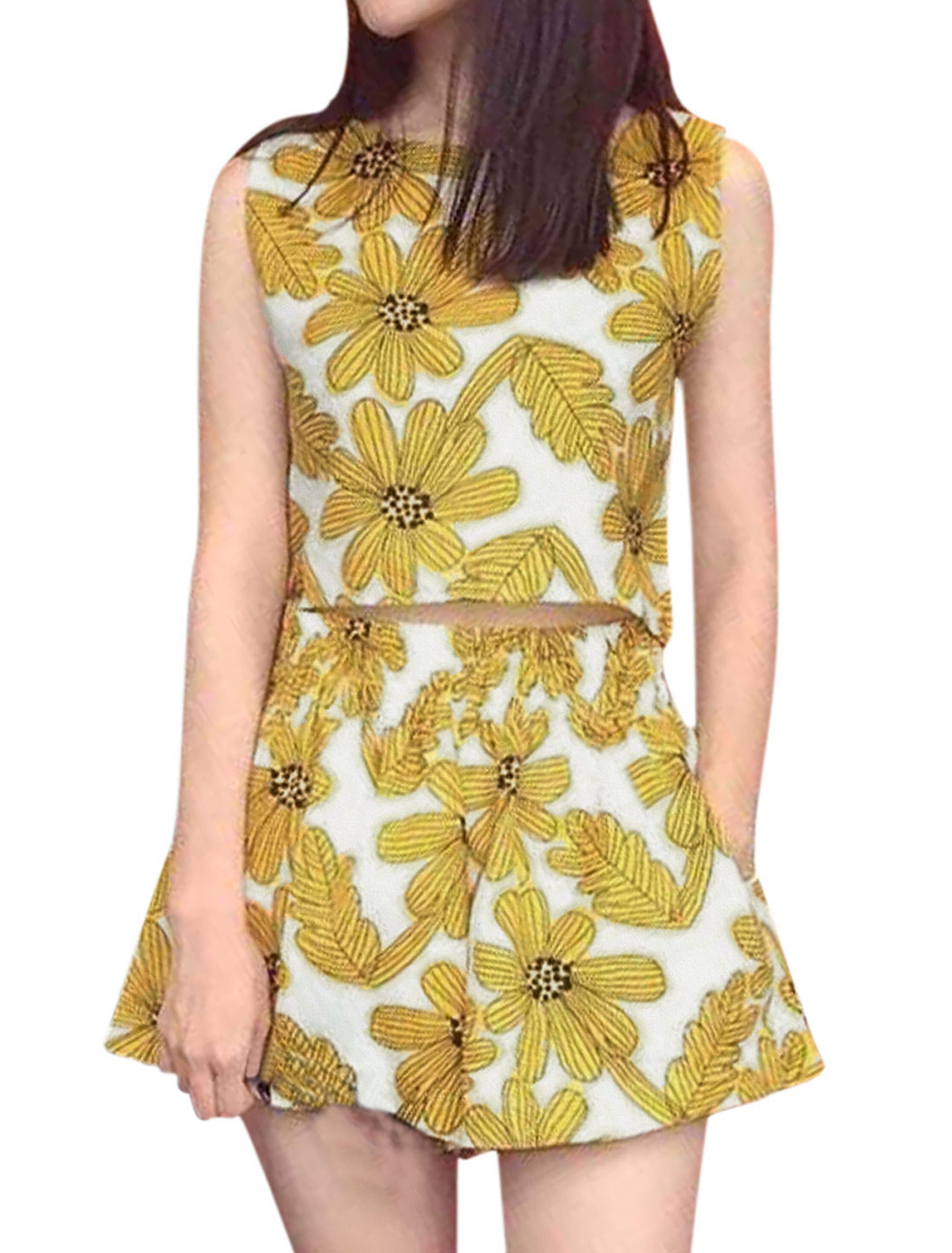 Woman Floral Prints Sleeveless Top w Casual Flare Shorts Sets Yellow White S