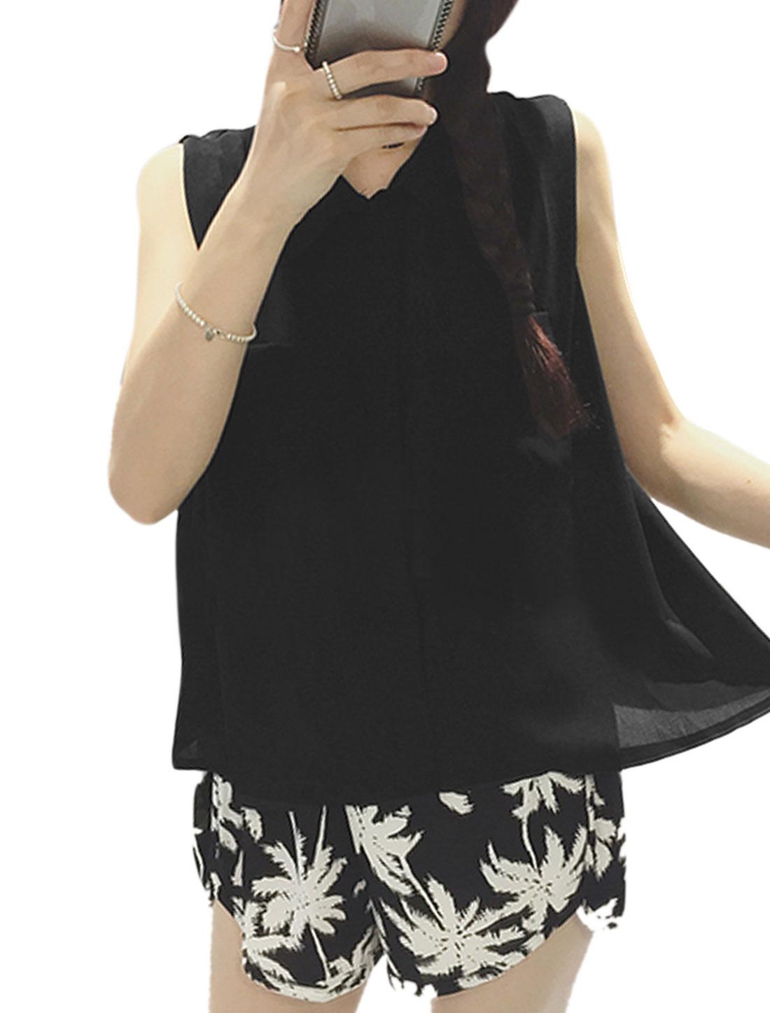 Woman Mock Chest Pockets Hidden Button Closure Chiffon Shirt Black XS