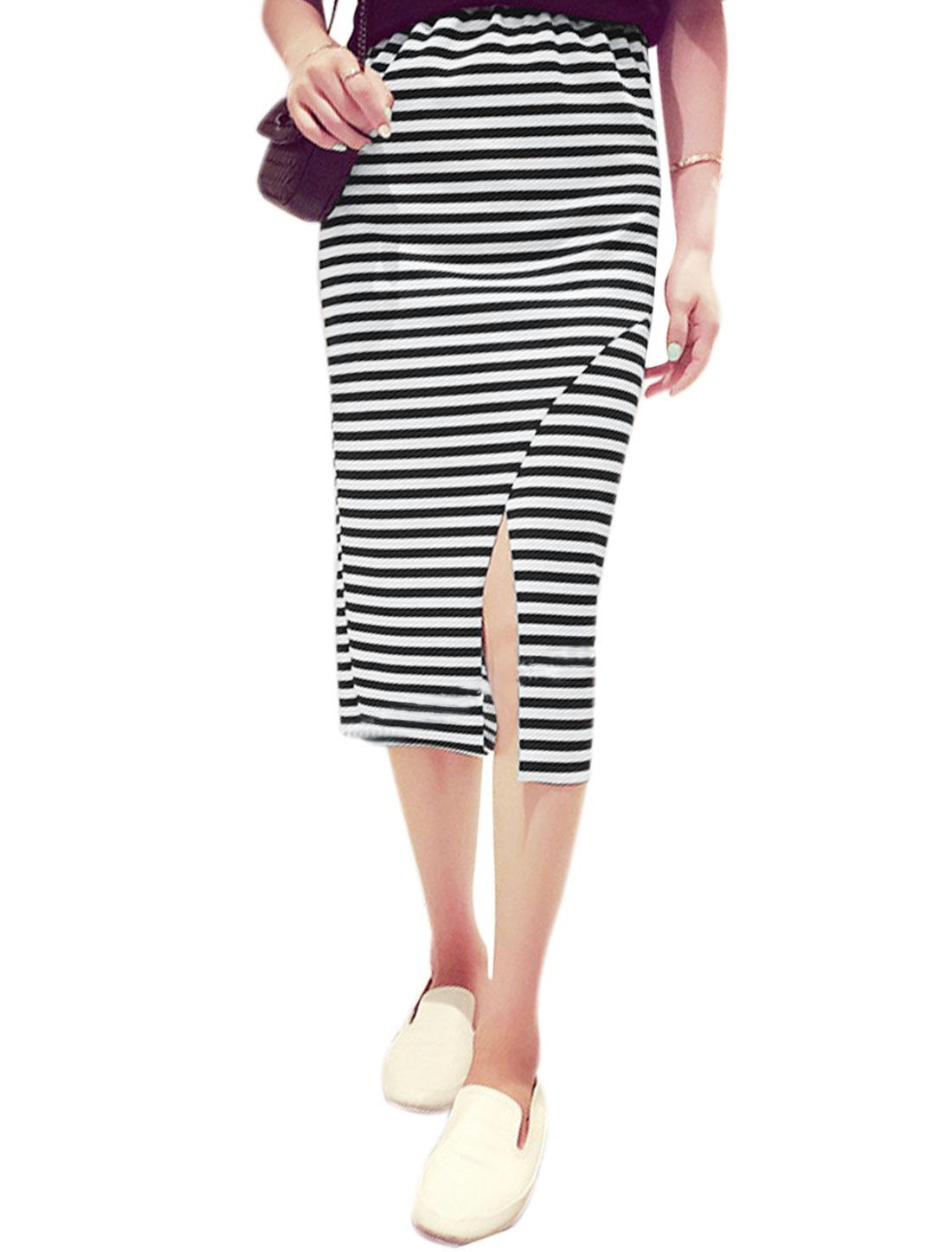 Woman Stripes Elastic Waist Split Hem Unlined Pencil Skirt Black White XS