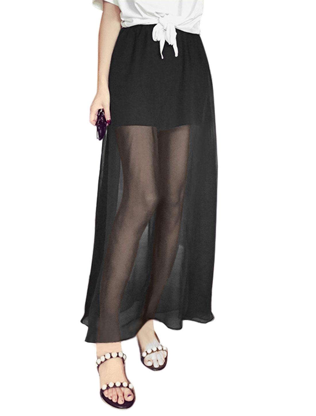Ladies Mid Rise Elastic Waist Layered Full-Length Casual Skorts Black S