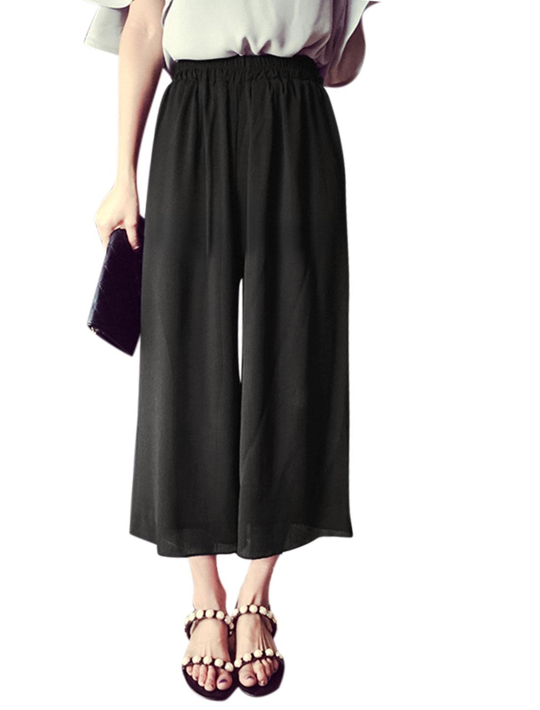 Ladies Mid Rise Elastic Waist Fully Lined Wide Leg Casual Capris Pants Black XS