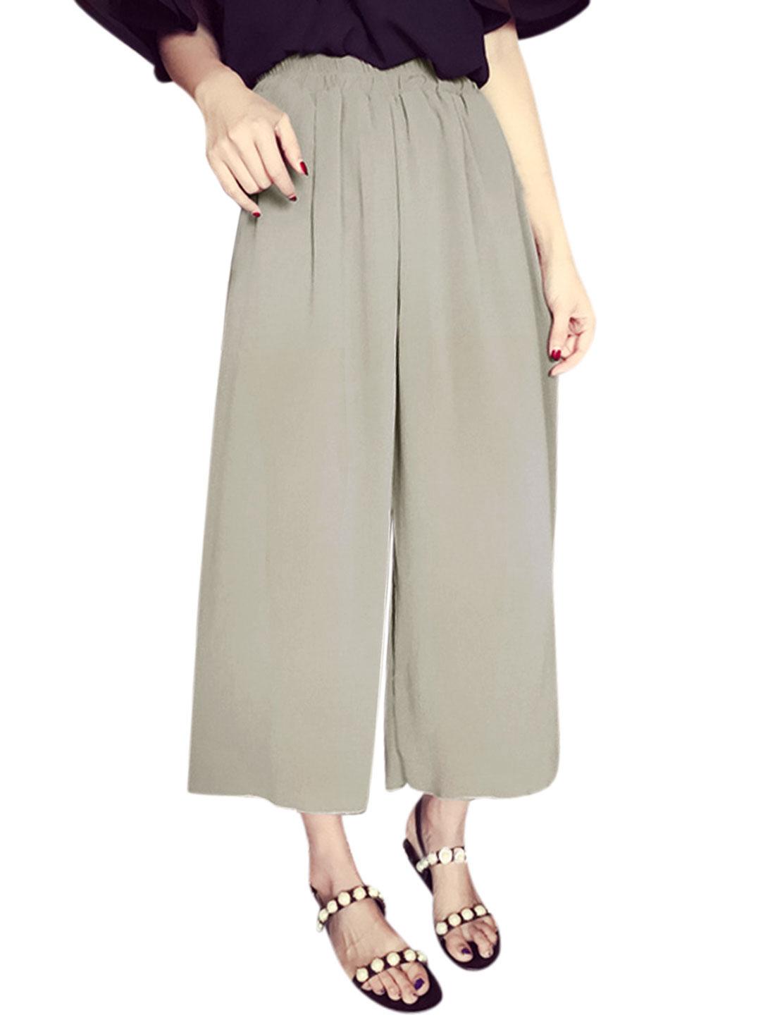 Women Elastic Waist Fully Lined Wide Leg Casual Capris Pants Dark Beige XS