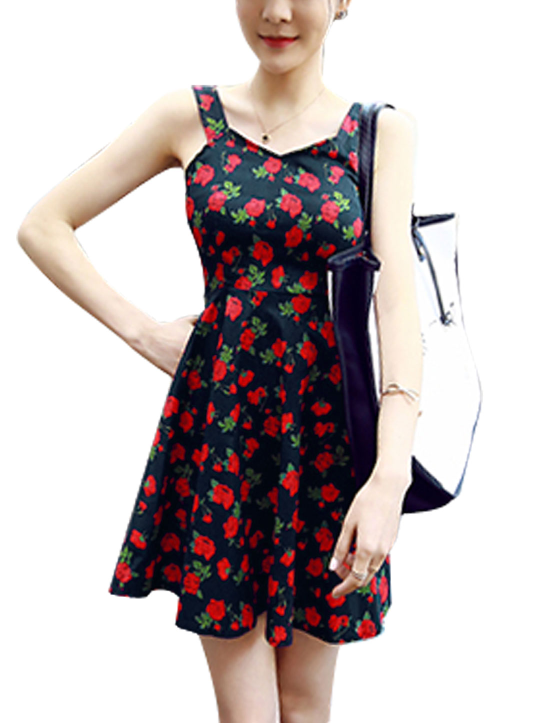 Women Rose Prints Sleeveless Self Tie Back A Line Dress Red Navy Blue XS