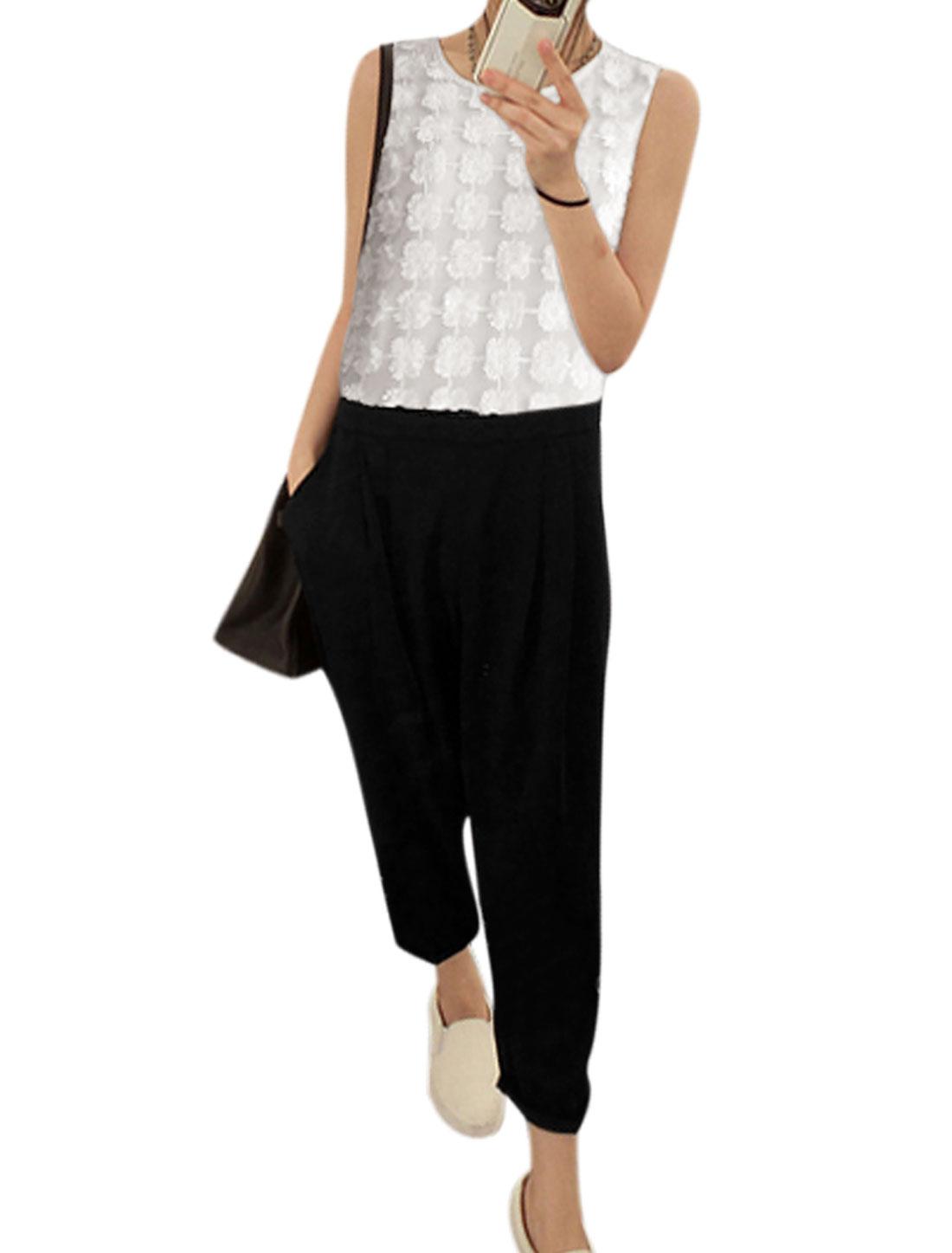 Ladies Flower Design Color Block Front Pockets Jumpsuits White Black XS
