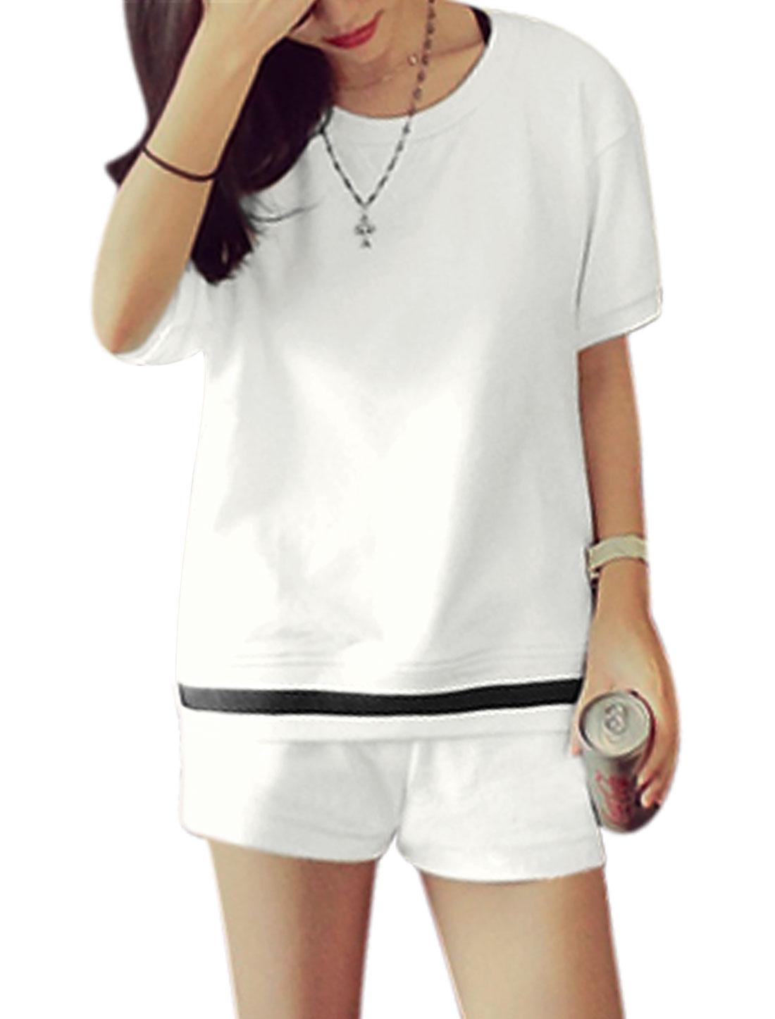Ladies Short Sleeve Casual Top w Drawstring Waist Panel Shorts Sets White XS