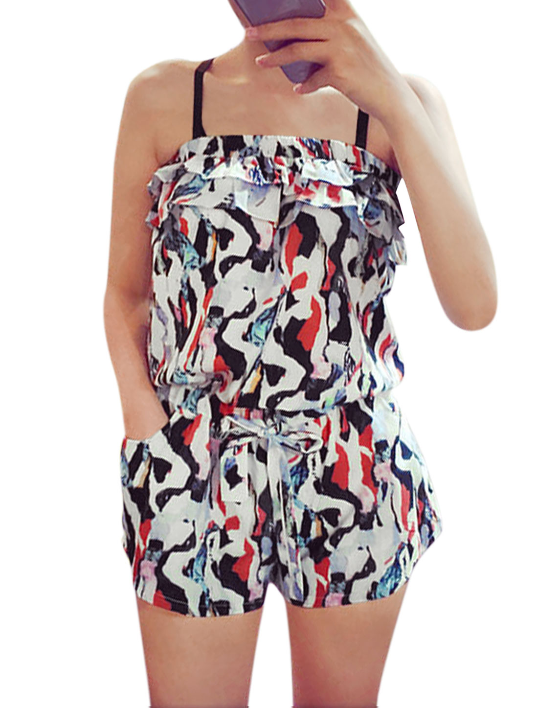 Ladies Off Shoulder Novelty Print Layered Casual Rompers White Red XS