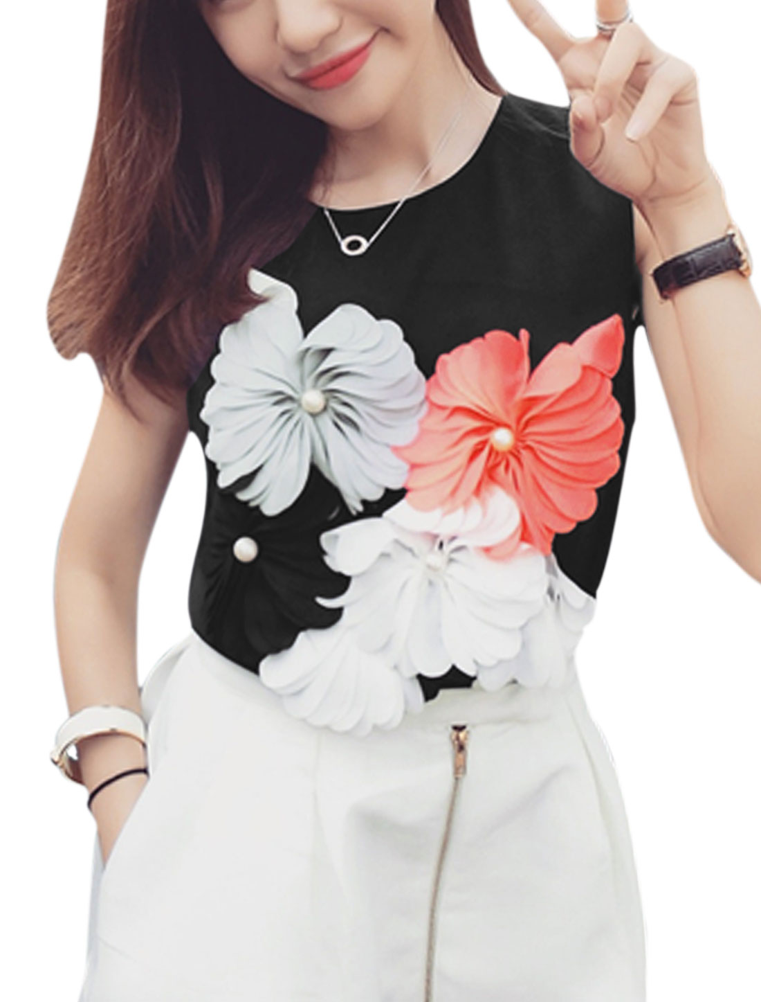 Woman Beaded Floral Decor Front Sleeveless Casual Top Black XS
