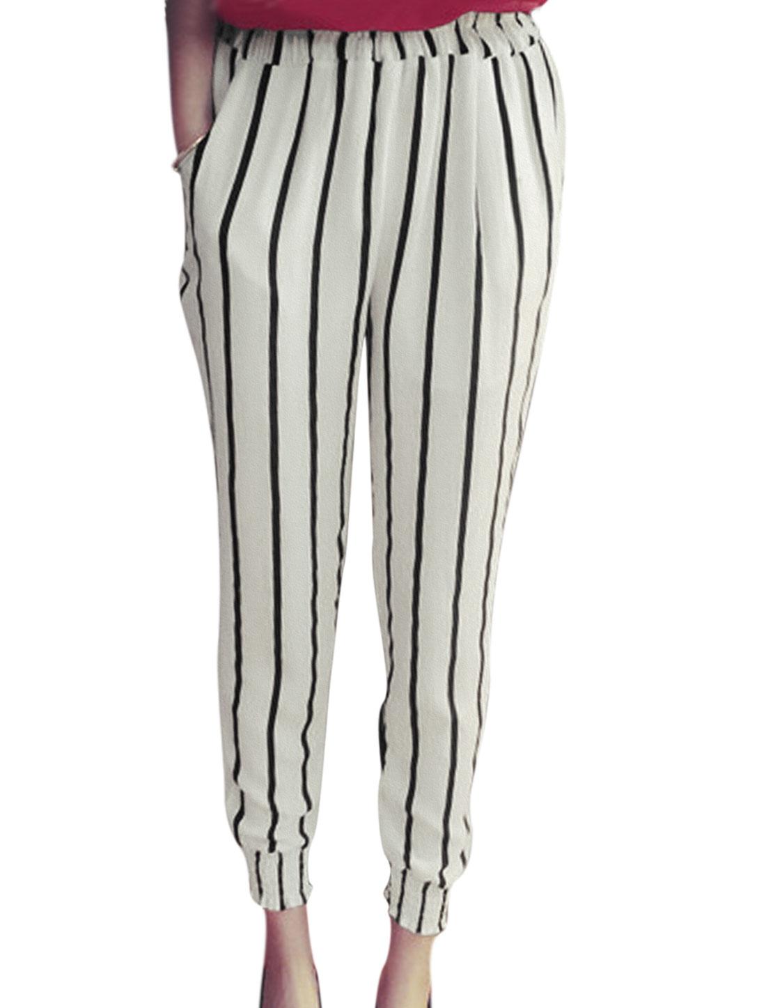 Lady Mixed Vertical Stripes Leisure Chiffon Cropped Pants White XS