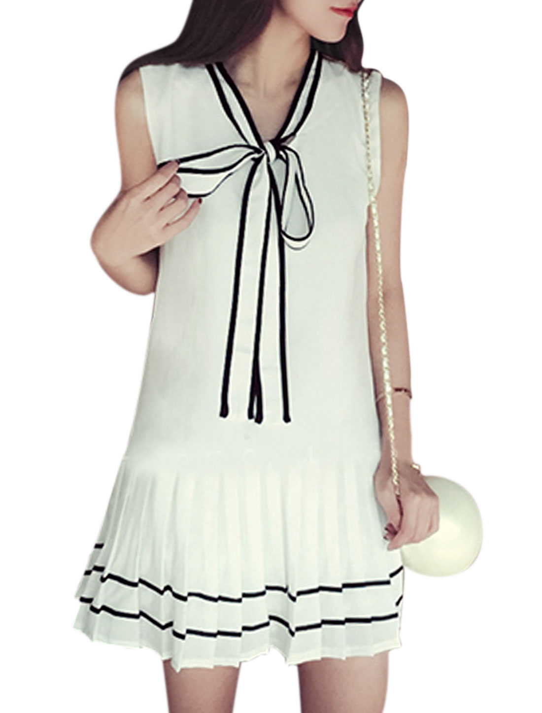 Ladies Sleeveless Self Tie Collar Pleated Hem Unlined Casual Dress White XS