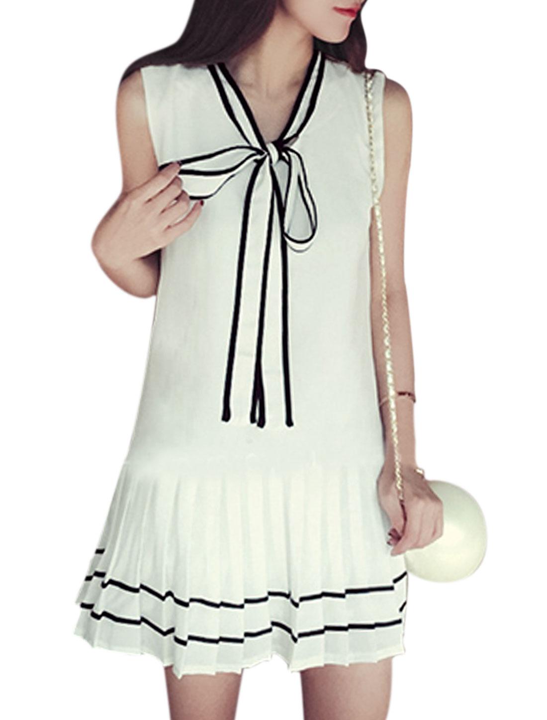 Ladies Sleeveless Self Tie Collar Pleated Hem Unlined Casual Dress White XS