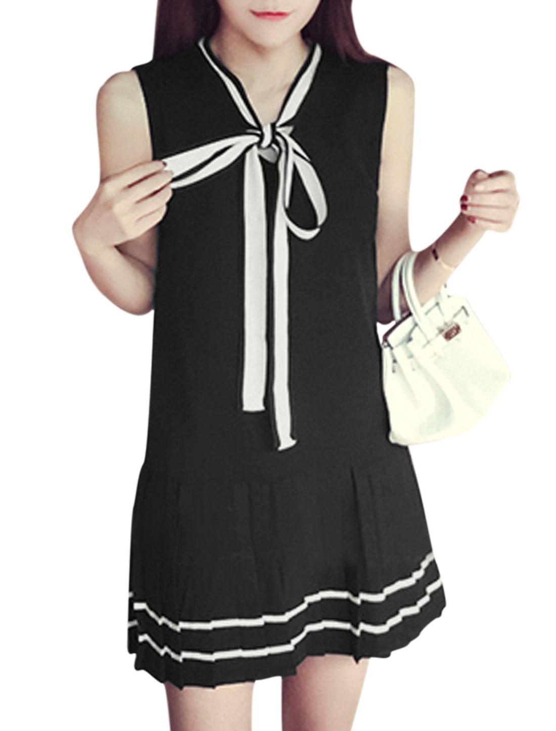Women Sleeveless Self Tie Collar Pleated Hem Unlined Dresses Black XS