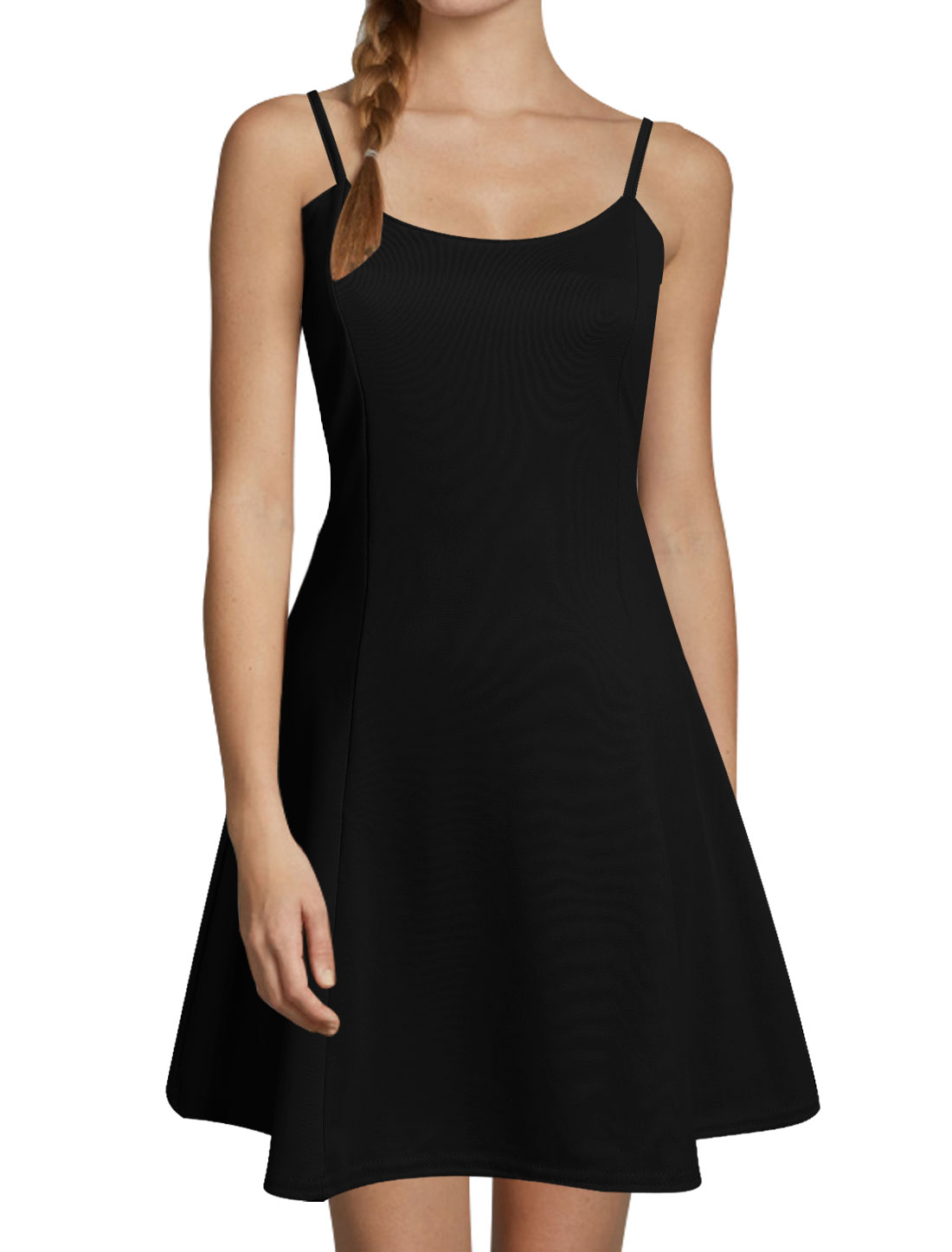 Women Scoop Neck Sleeveless Spaghetti Straps A Line Dress Black XS