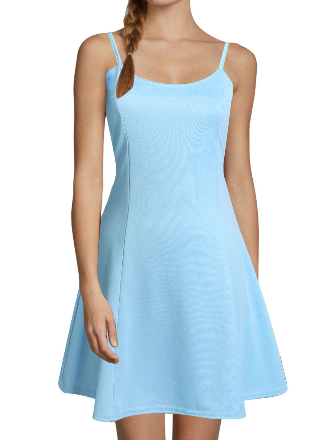 Ladies Scoop Neck Sleeveless Unlined Casual Dresses Light Blue XS