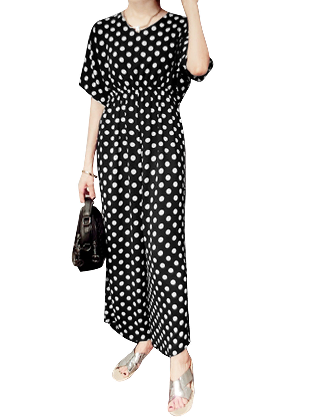 Ladies Short Sleeve V Neck Dots Prints Casual Loose Jumpsuits Black XS