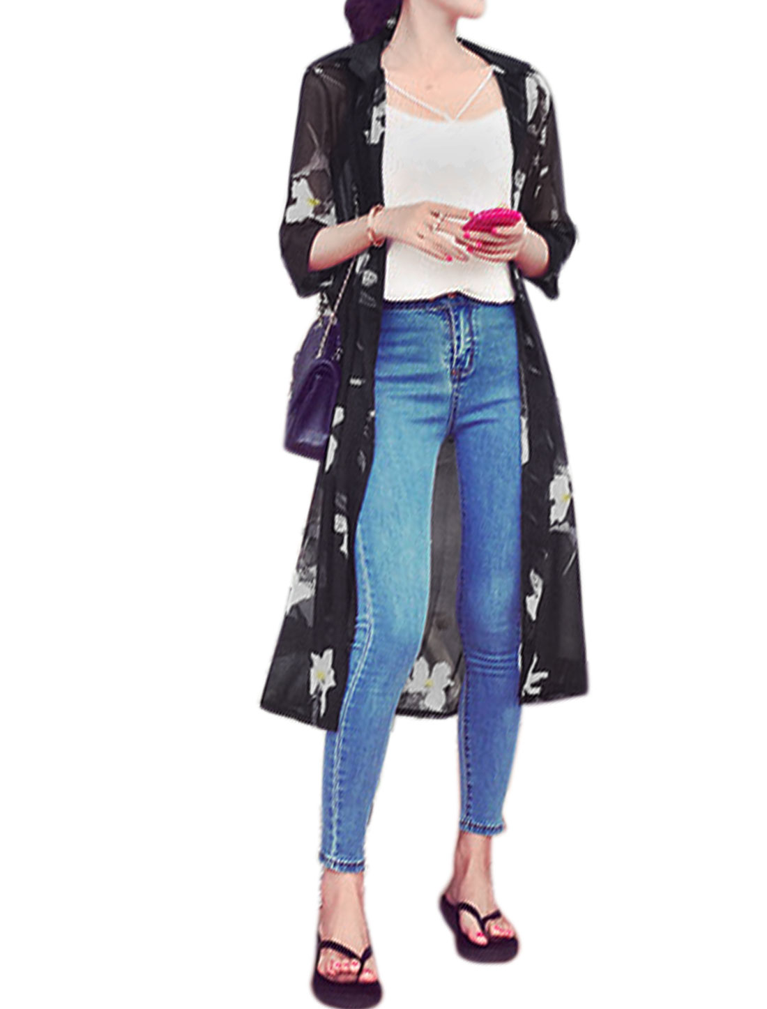 Ladies 3/4 Sleeve Floral Print Button Down Longline Long Cardigan Black XS