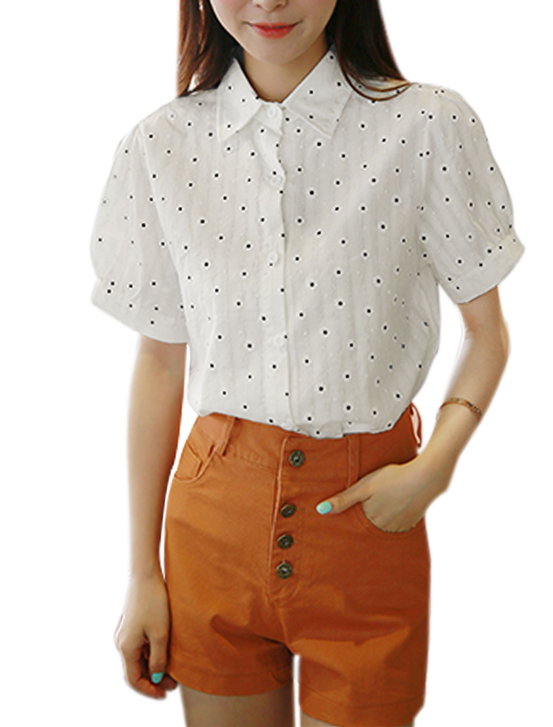 Women Point Collar Floral Prints Textured Casual Shirts Off White XS