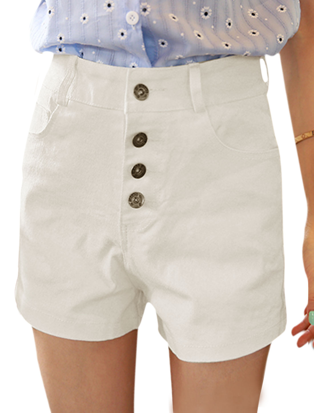 Women Button Closed Two Slant Pockets High Waisted Shorts White XS