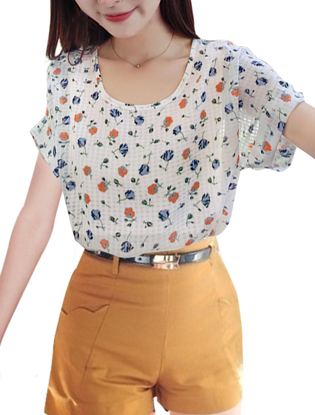 Woman Floral Prints Semi Sheer Plaids Short Sleeves Top Blue Orange XS