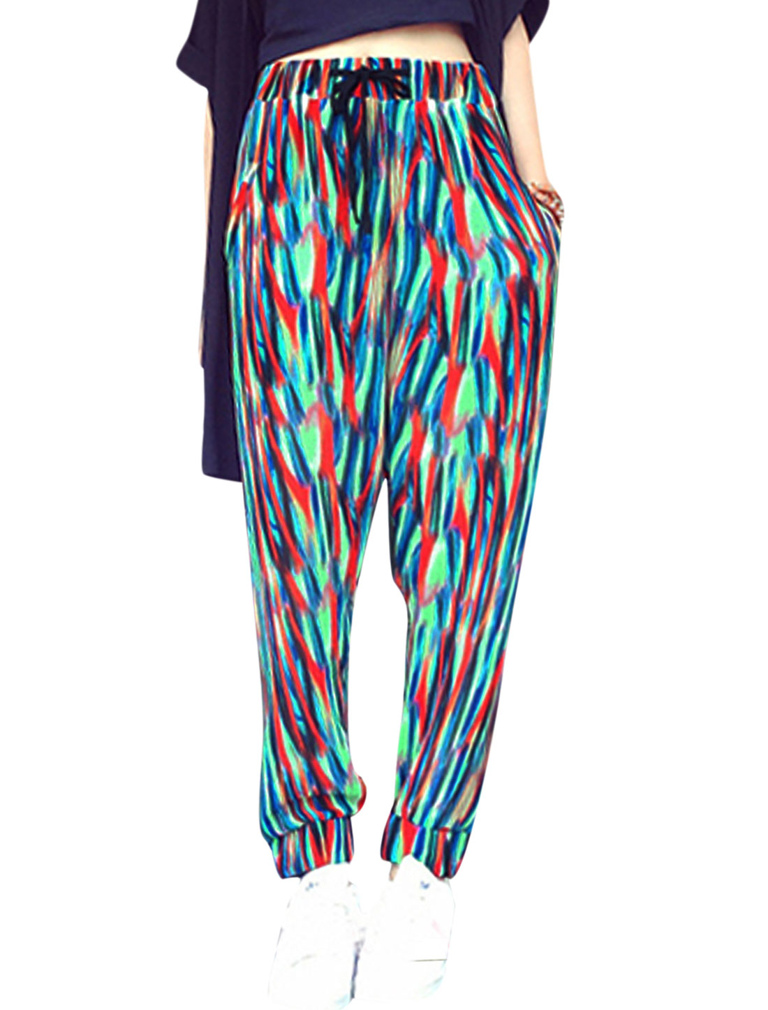 Woman Novelty Prints Elastic Thigh Cuffs Drawstring Waist Chiffon Pants Multicolor XS