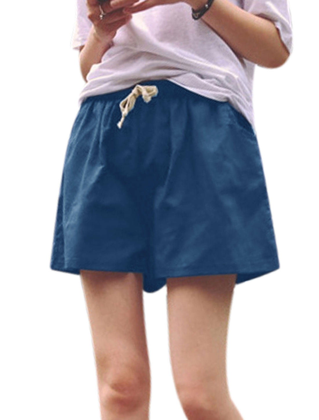 Women Mid Rise Two Slant Pockets Flared Casual Shorts Blue XS