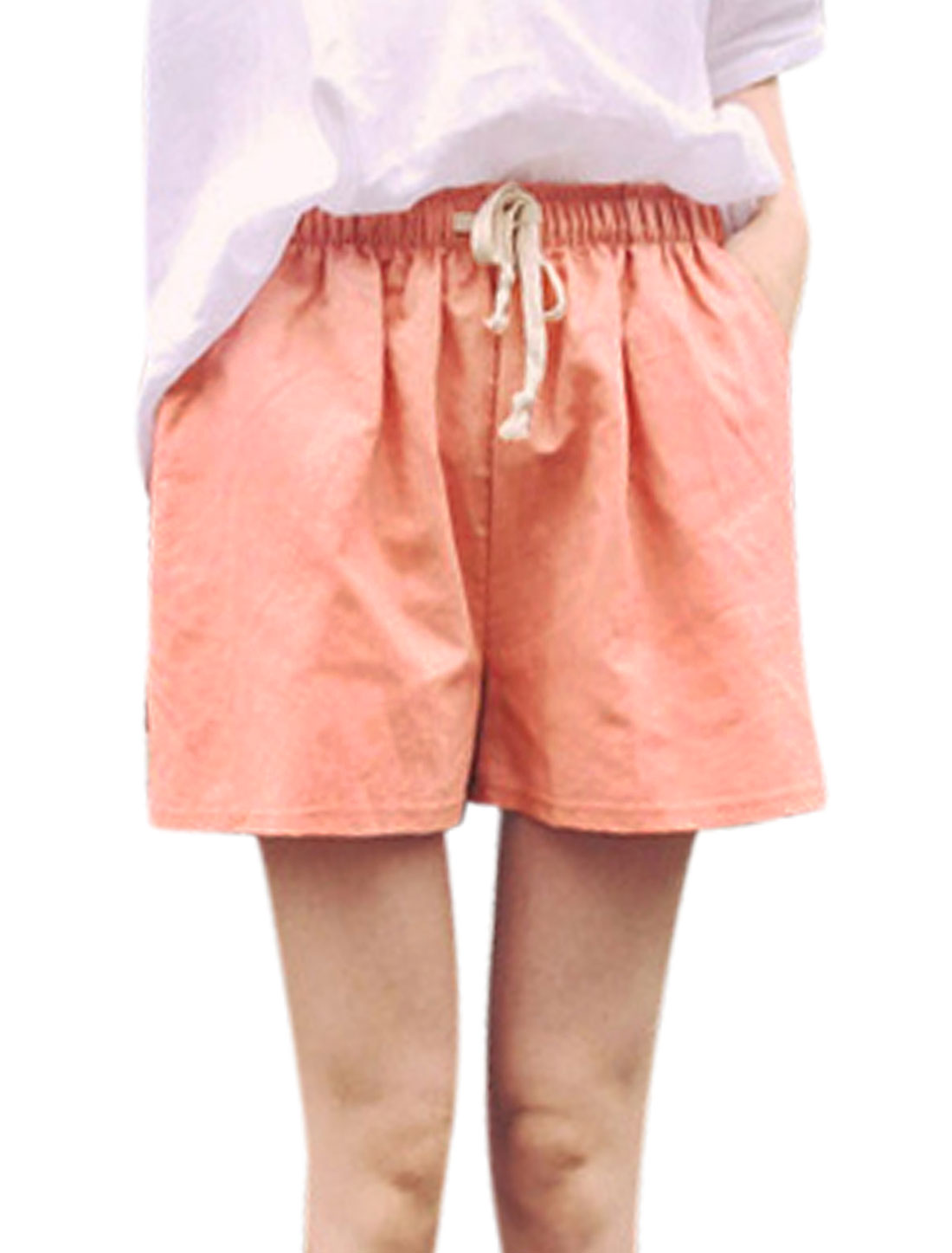 Ladies Elastic Waist Slanted Pockets Short Shorts Pale Pink XS