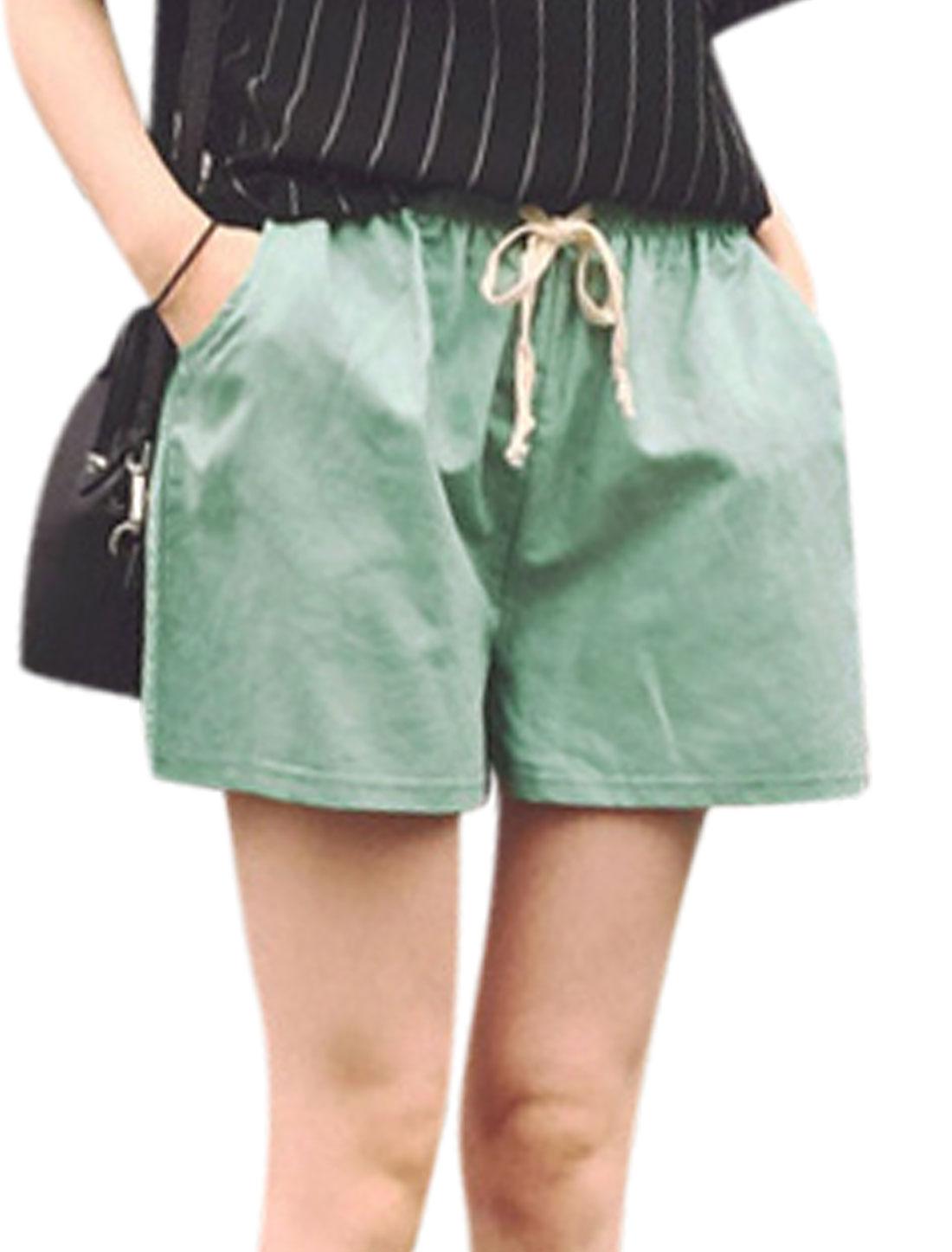 Women Mid Rise Pockets Front Drawstring Waist Shorts Dark Mint XS