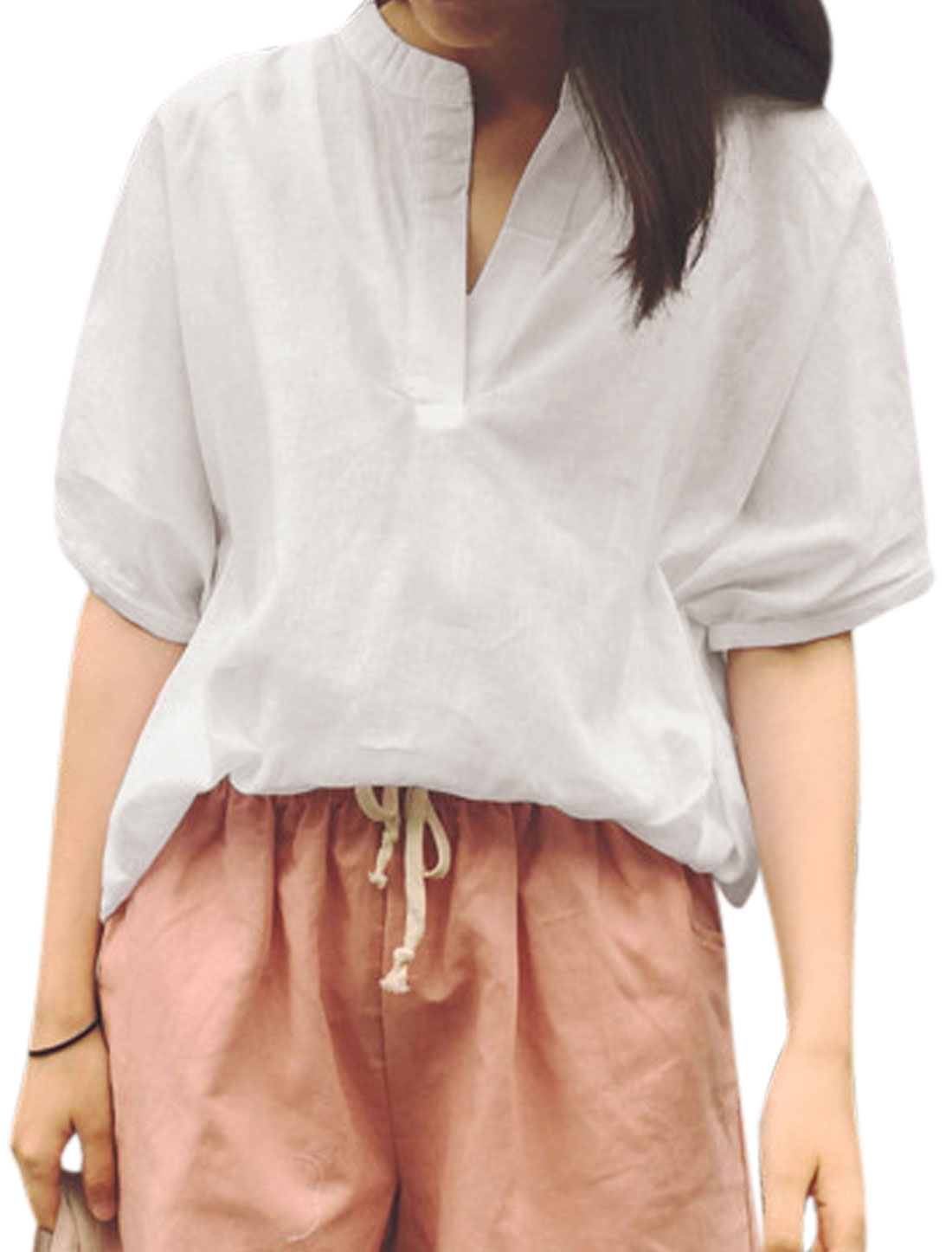Woman Stand Collar V Neck Rolled Cuffs Dolman Sleeves Casual Top White XS