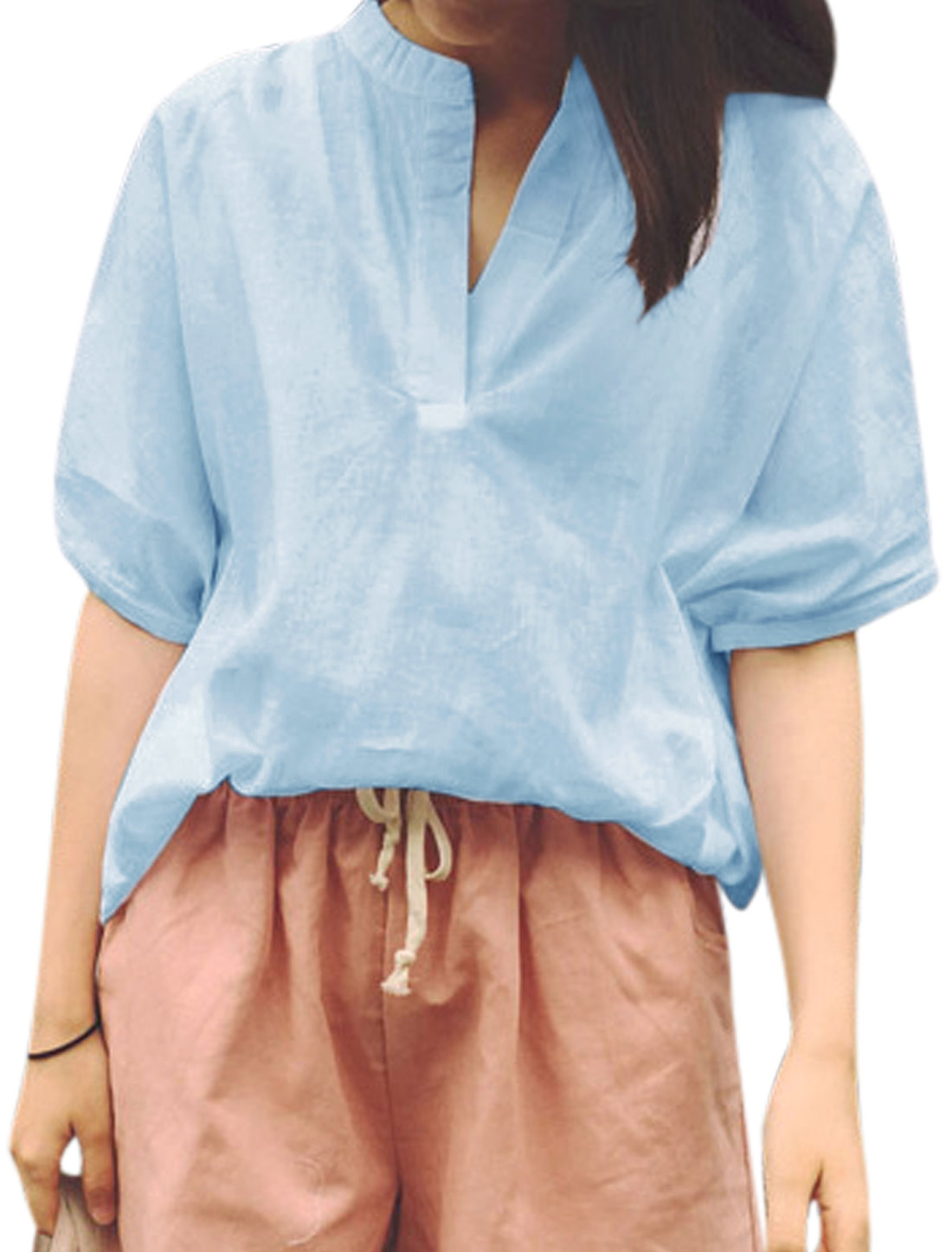 Woman Stand Collar Rolled Cuffs Half Dolman Sleeves Casual Top Sky Blue XS