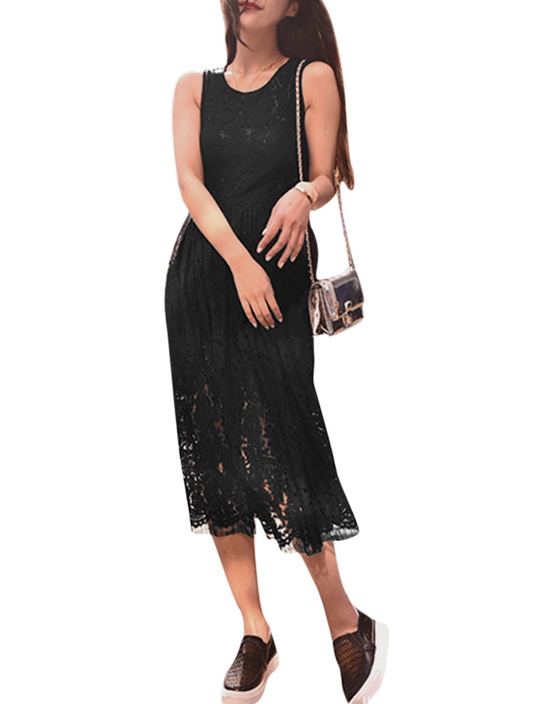 Woman Floral Design Round Neck Sleeveless Partially Lined Lace Dress Black