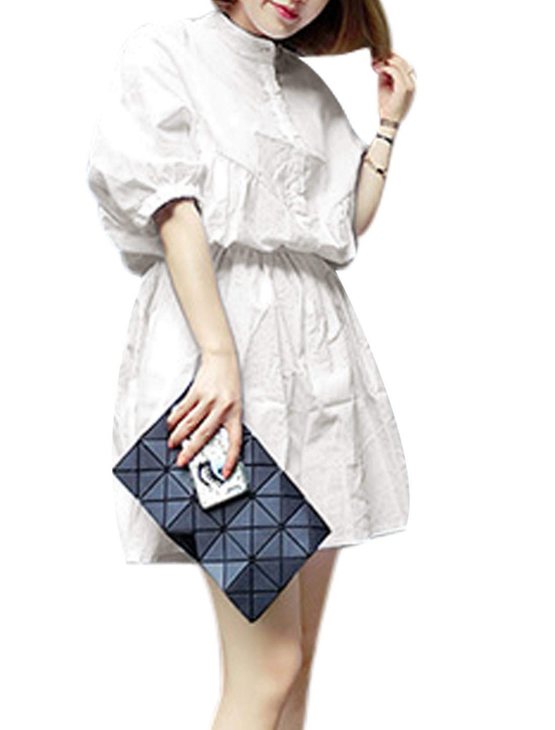 Women Stand Collar Half Placket Batwing Sleeves Dress White XS