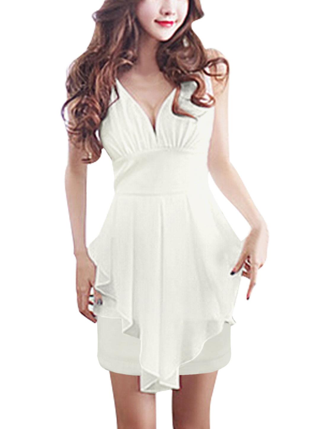 Women Deep V Neck Pleated Chiffon Panel Asymmetric Hem Sheath Dress White XS