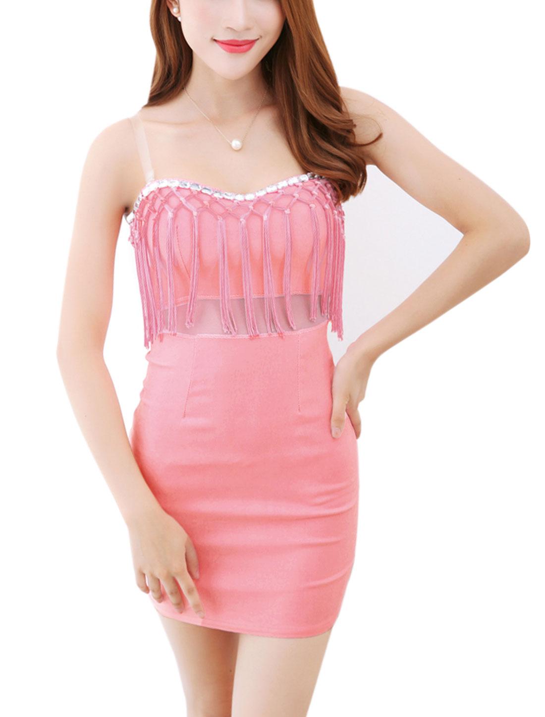 Lady Rhinestones Embellished Mesh Panel Bodycon Dress Pink XS