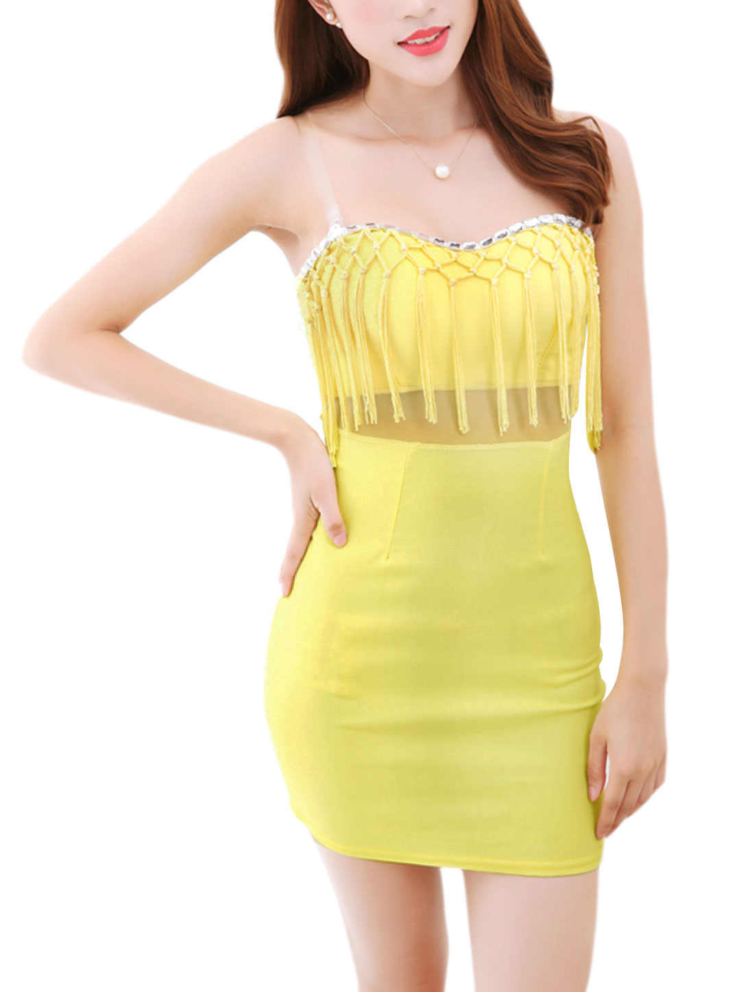 Ladies Netted Fringe Neckline Padded Bust Wiggle Dress Yellow XS