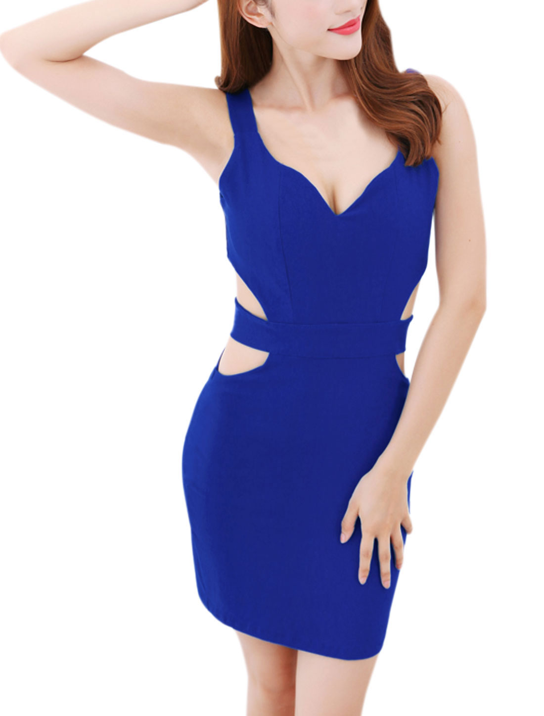 Lady Deep V Neck Cut Out Sleeveless Pencil Dress Royal Blue XS