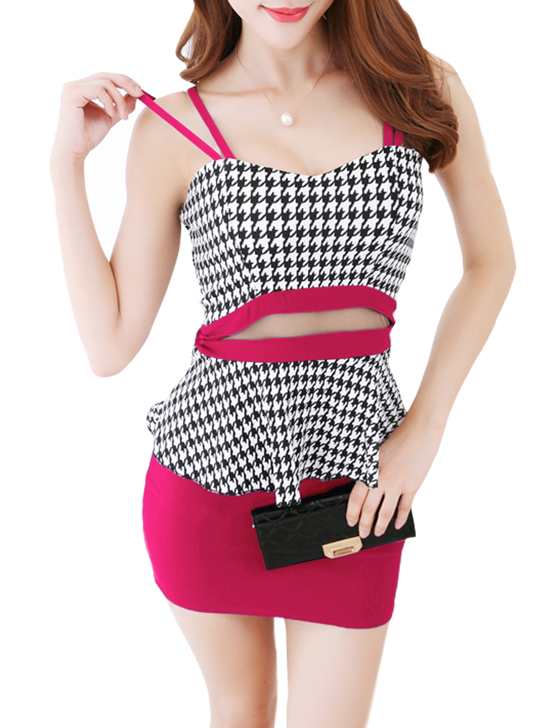 Woman Houndstooth Pattern Mesh Panel Padded Bust Peplum Dress Fuchsia White XS