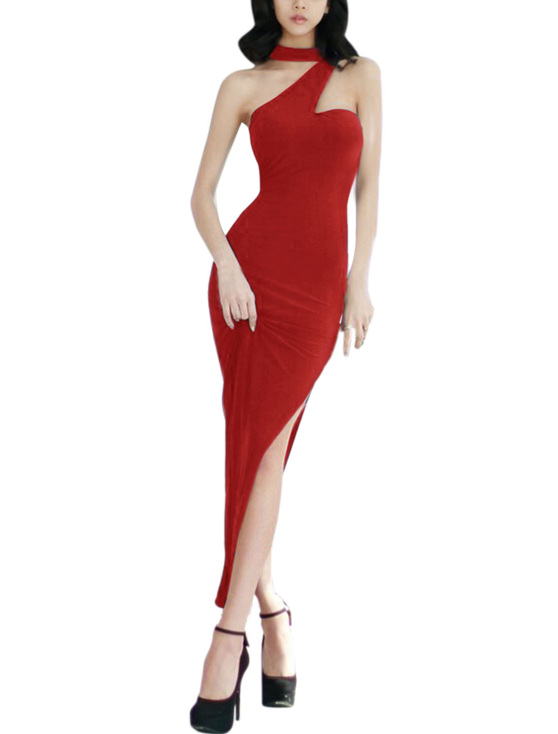 Women Irregular Neck Sleeveless Split Hem Maxi Dress Red S