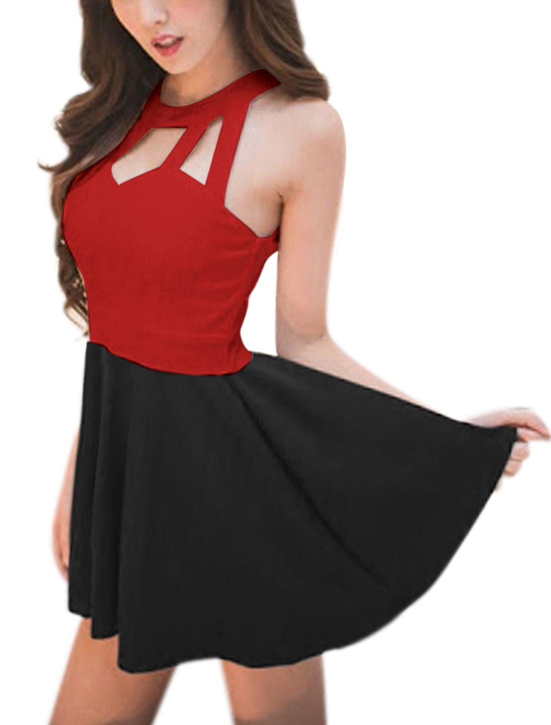 Ladies Color Blocked Sleeveless Unlined Mini Dress Red Black XS
