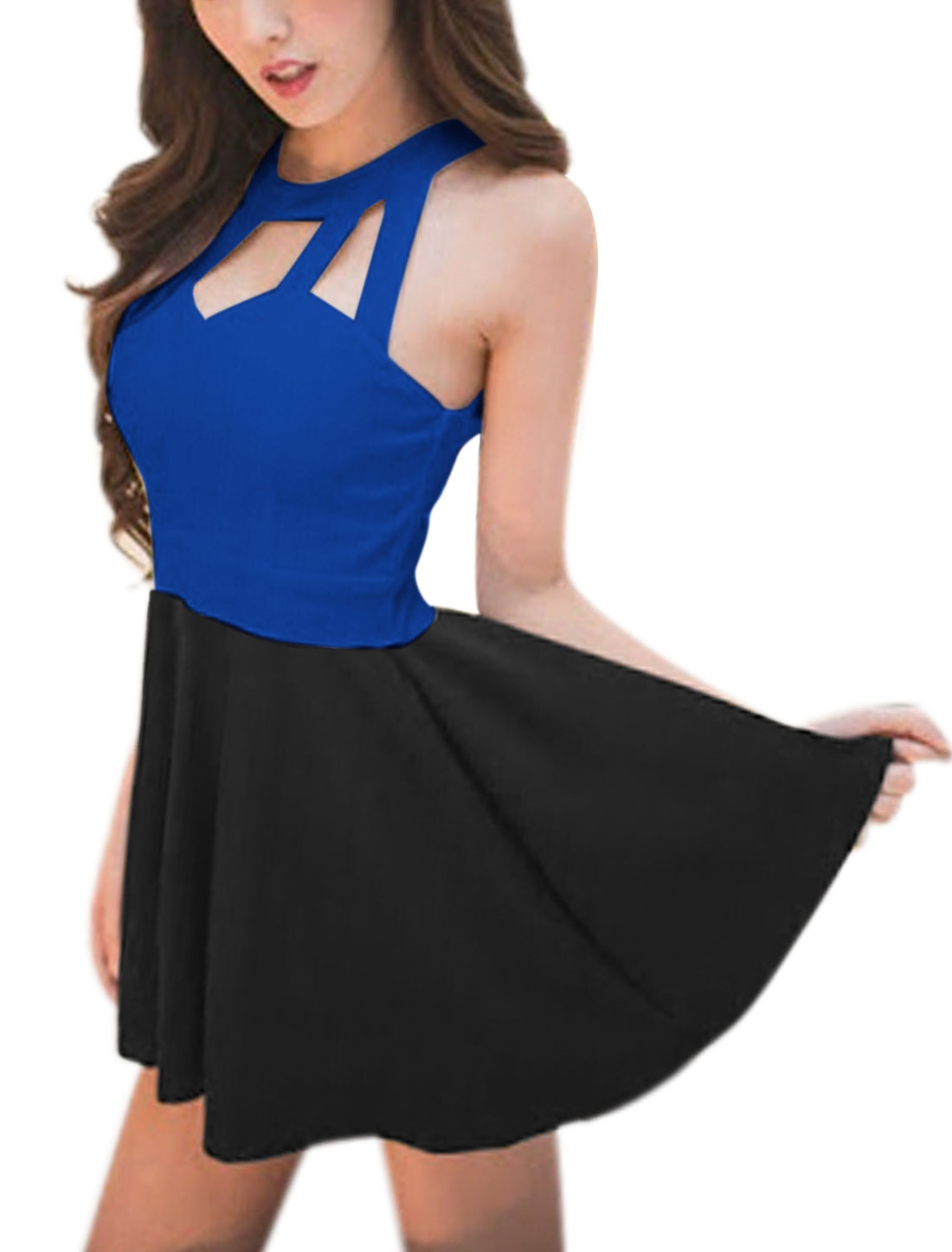 Lady Sleeveless Cut Out Padded Bust Color Block Mini Dress Royal Blue Black XS
