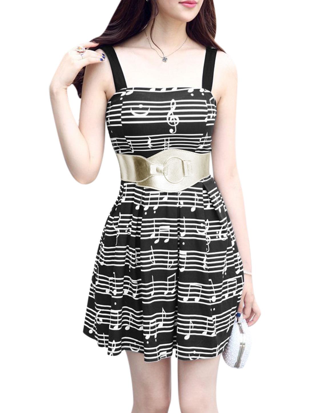 Women Square Neckline w Waistband Unlined Casual Dresses Black XS