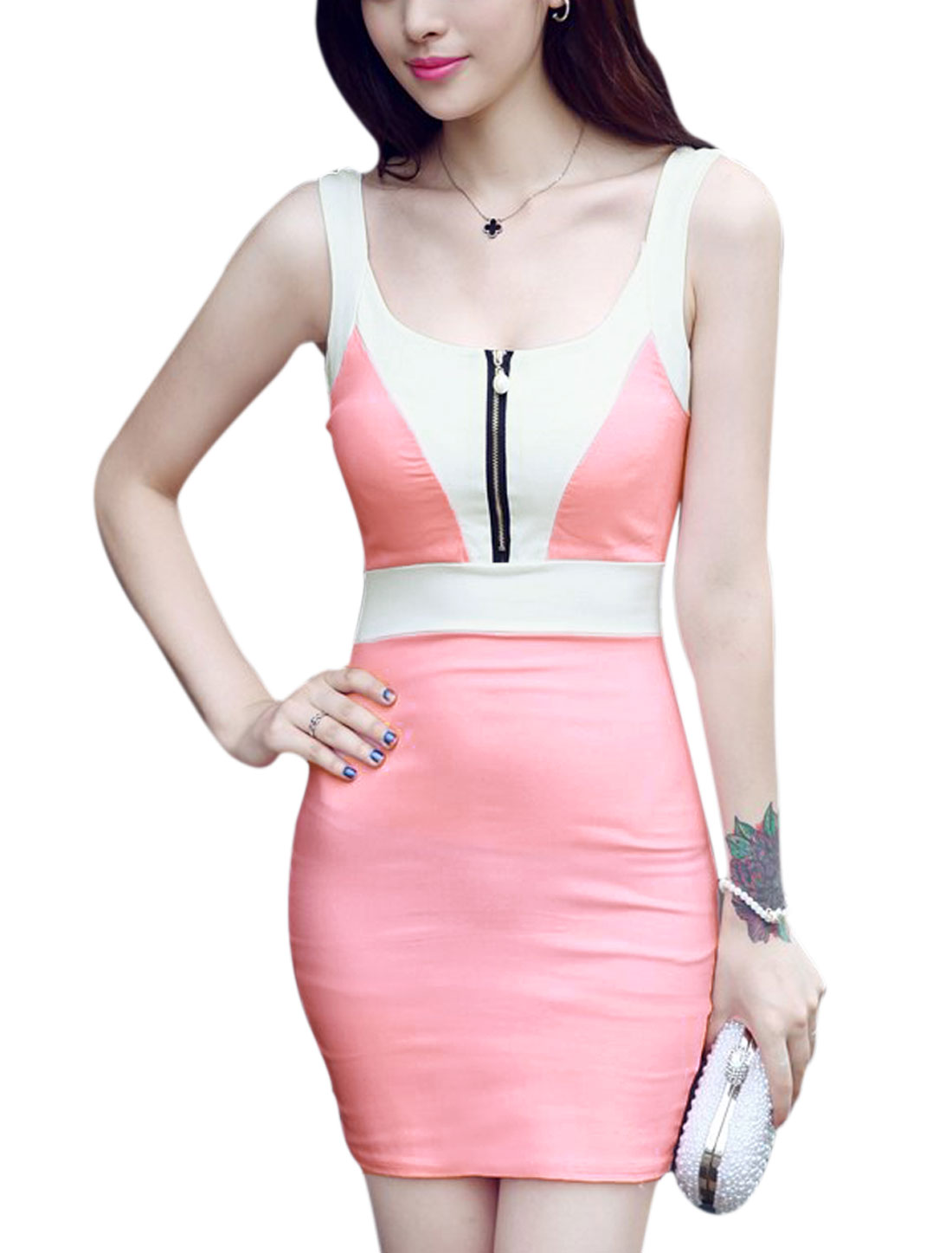 Woman Contrast Color Sleeveless Zip Closed Upper Bodycon Dress Pink XS