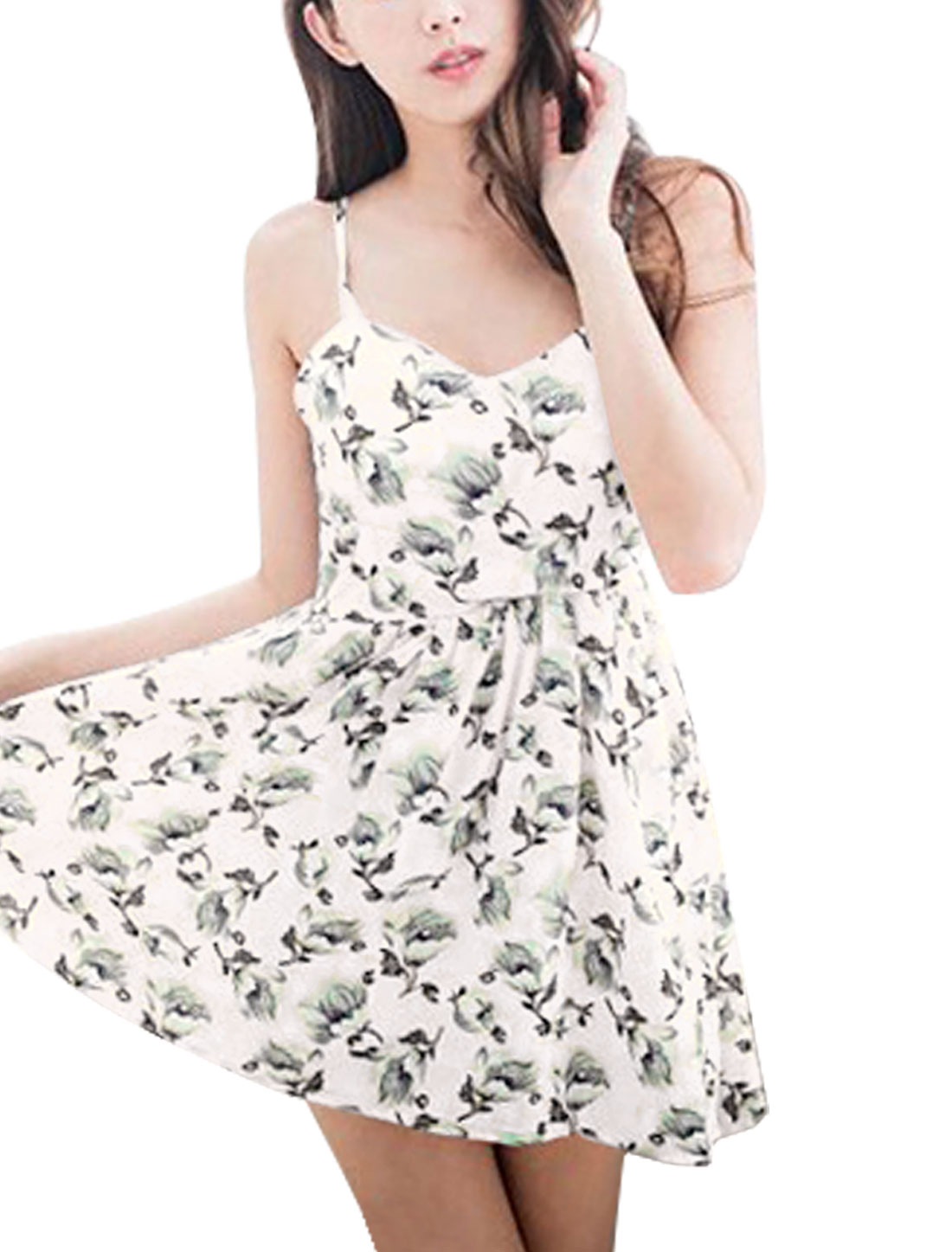 Women Sweetheart Neckline Floral Prints Padded Bust A Line Dress Light Pink S