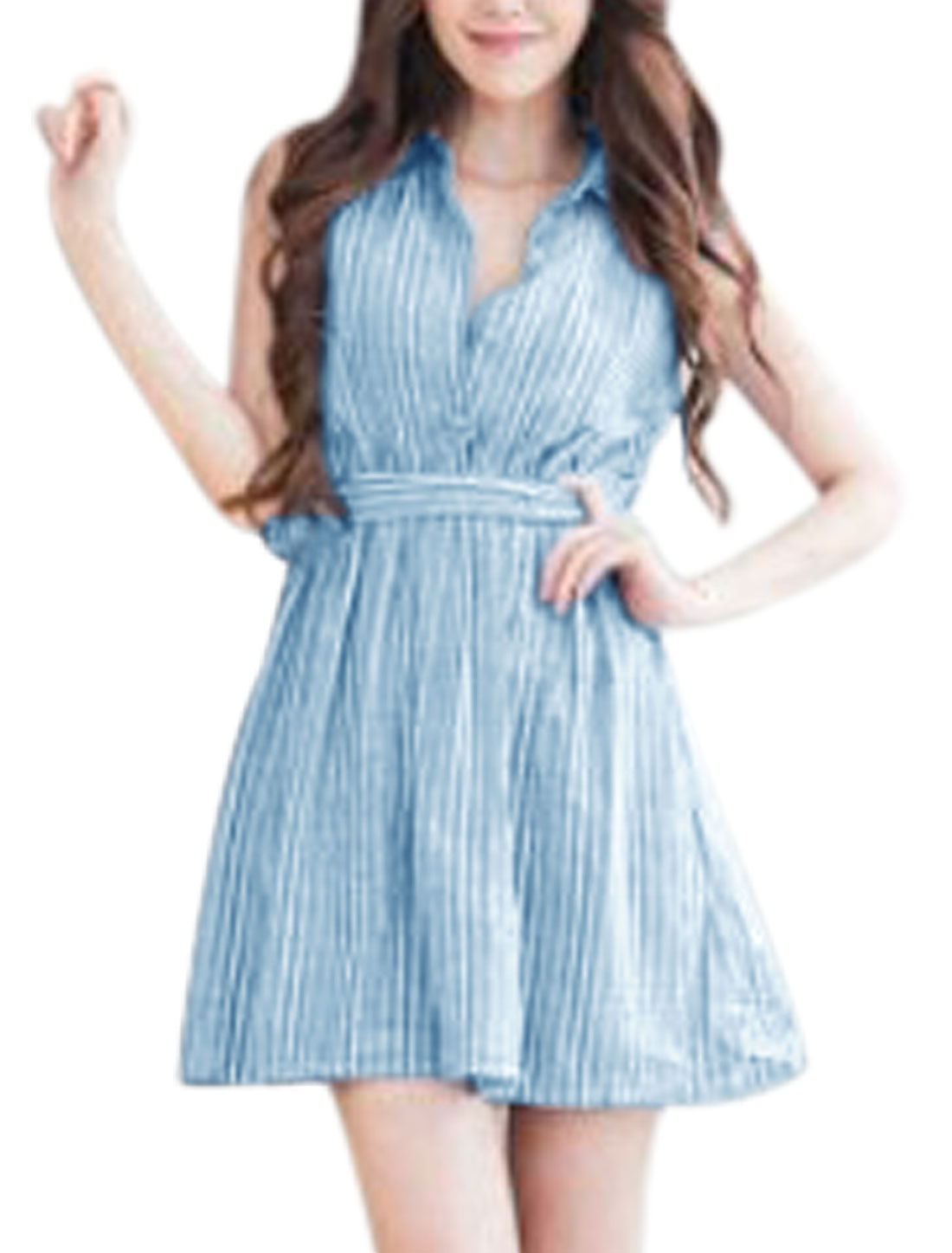Woman Vertical Stripes Sleeveless Unlined Shirt Dress w Waist String Blue White XS